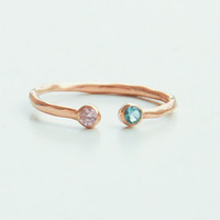 Dual Birthstone Ring - His and Her Birthstone Ring - Two Birthstone Ring  - Rose Gold Birthstone Ring - His and Hers Birthstone Ring