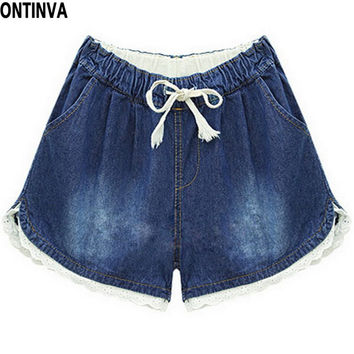 Casual Wide Leg Jeans Woman Denim Shorts with Lace Blue Trousers with Pocket Summer Pants XXL Plus Size Woman Clothing 2016
