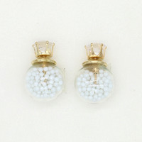 White Bead Decorated Ball Crystal Detail Earrings