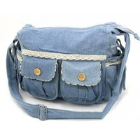 Handmade Lace Bowknot Denim Shoulder Bag from Summer Trip