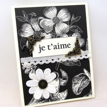 I Love You Card - Je T'Aime Card - Romantic Card - Striking - Ivory and Black - Blank Card - French Card - Anniversary Card - Card for Her