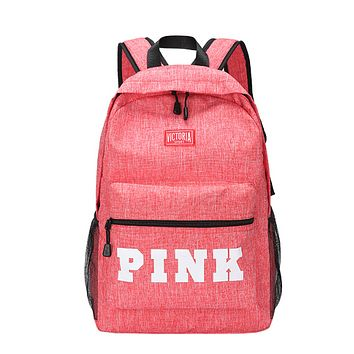 Victoria Pink New fashion letter print canvas leather women backpack bag Pink