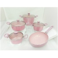 Beautiful Press Aluminum Metallic Pink Coloured Cookware With Ceramic Coating Inside - Buy Coloured Cookware,Pink Coloured Cookware,Cookware With Ceramic Coating Product on Alibaba.com