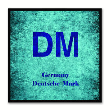 Deutsche Mark Money Currency Aqua Canvas Print with Black Picture Frame Home Decor Wall Art Collection Gifts