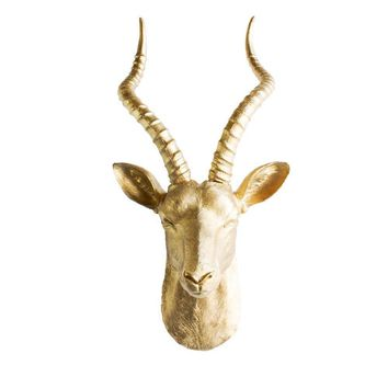 The Maasai | Large Antelope Gazelle Head | Faux Taxidermy | Gold Resin