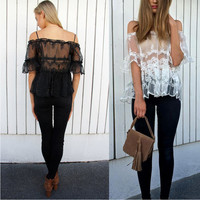 Off Shoulder Mesh Lace Blouse