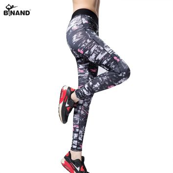 BINAND Woman Stretchy Polyester & Spandex Running Tight Geometric Printed Full Length With Back Small Pocket Yoga Sports Pants