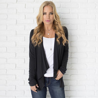 Ambitions Cardigan In Charcoal Grey
