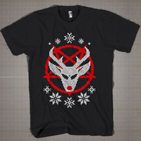 Ugly Christmas Santa's Reindeer  Mens and Women T-Shirt Available Color Black And White