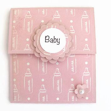 Baby Bottle Gift Card Holder, Baby Girls, New Baby Gift, Pink, Gift Card Holder, Baby Shower