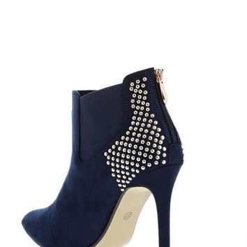 Studded Back Blue Ankle Boots