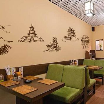 ik2411 Wall Decal Sticker Chinese temple wall china attractions house chinese restaurant