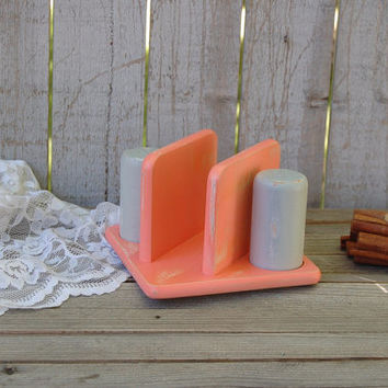 Salt and Pepper Shaker Set, Napkin Holder, Shabby Chic, Coral, Grey, Hand Painted, Distressed