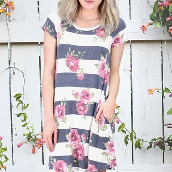 Favorite Mix Floral + Stripes Dress {Navy}