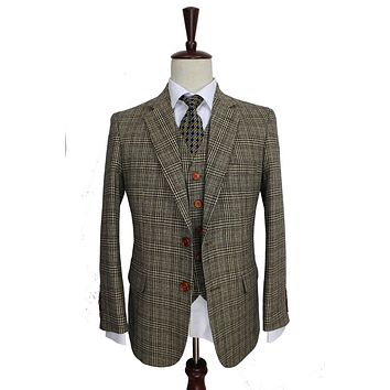 Retro Brown Plaid Groom Tuxedos Custom Made Slim Fit Wedding Suits For Men Blazers Tailor Made Suits 3 Piece