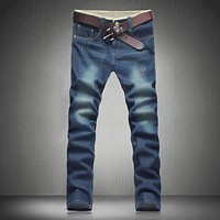 2017 Spring Men's Jeans, Fashion Casual Trousers, High-Quality Large Size Jeans For Men  / Designer Denim Pants Blue 40 42  44