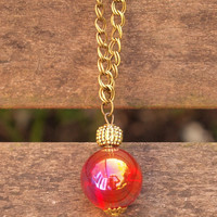 Deal of the Week Red and Gold Czech Glass Irridescent Bauble Pendant on Antique Gold Chain