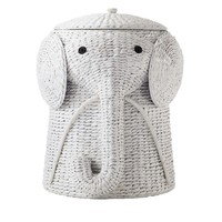 Elephant Wicker Laundry Basket Nursery Toys Home White