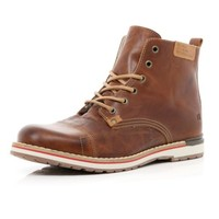 Light brown lace up wedge boots - boots - shoes / boots - men