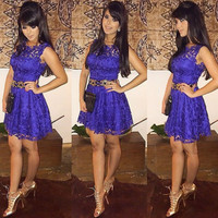 Purple Floral Lace Sleeveless Overlay Mini Dress