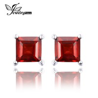 JewelryPalace Square 0.8ct Created Red Ruby 925 Sterling Silver Stud Earrings Fashion Earrings for Women Fine Jewelry New Brand