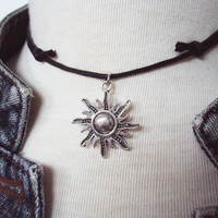 Sun Necklace ~ Sun Choker ~ Black Choker ~ Choker Necklace ~ Hippie Necklace ~ Wiccan Choker ~ Bohemian Choker ~ Wicca Necklace ~ Pagan