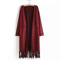 Tassel Long-Sleeve None Button Suede Leather Coat