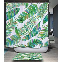 Green Tropical Leaves Fabric Shower Curtain