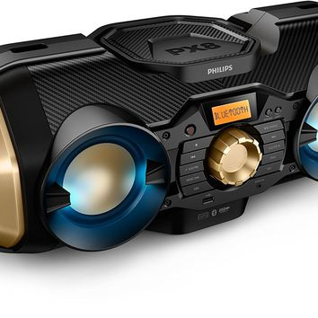 Phillips Rugged Boombox with Bluetooth, Radio, USB, AUX, CD & Light Up Speaker