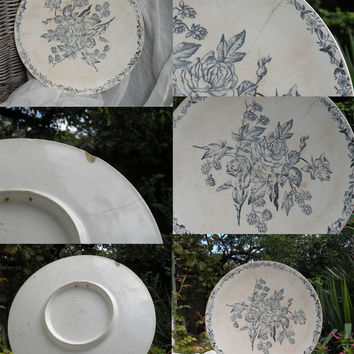 Large antique ironstone floral wall plate by French manufacturer Longchamp, blue transferware, French shabby chic cottage decor country home