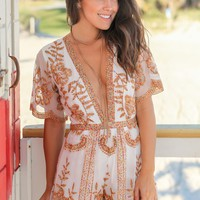 White Embroidered Short Lace Romper