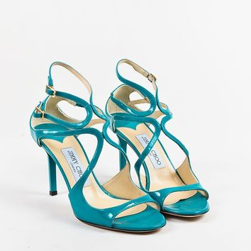 Jimmy Choo Blue Patent Leather Open Toe Strappy High Heel Sandals