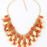 Shiny Jewelry Gift New Arrival Stylish Bohemia Vintage Sweets Leaf Water Droplets 925 Necklace [6586305159]