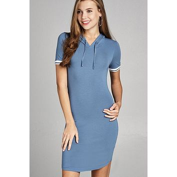 Ladies fashion short sleeve w/stripe band drawstring hoodie cotton rayon spandex mini dress