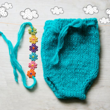 Teal hand knit romper and headband set  / Knitted baby bodysuit / Newborn Romper /  Baby girl Onesuit / Newborn Photo props