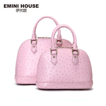 EMINI HOUSE Ostrich Pattern Shell Bag Genuine Leather