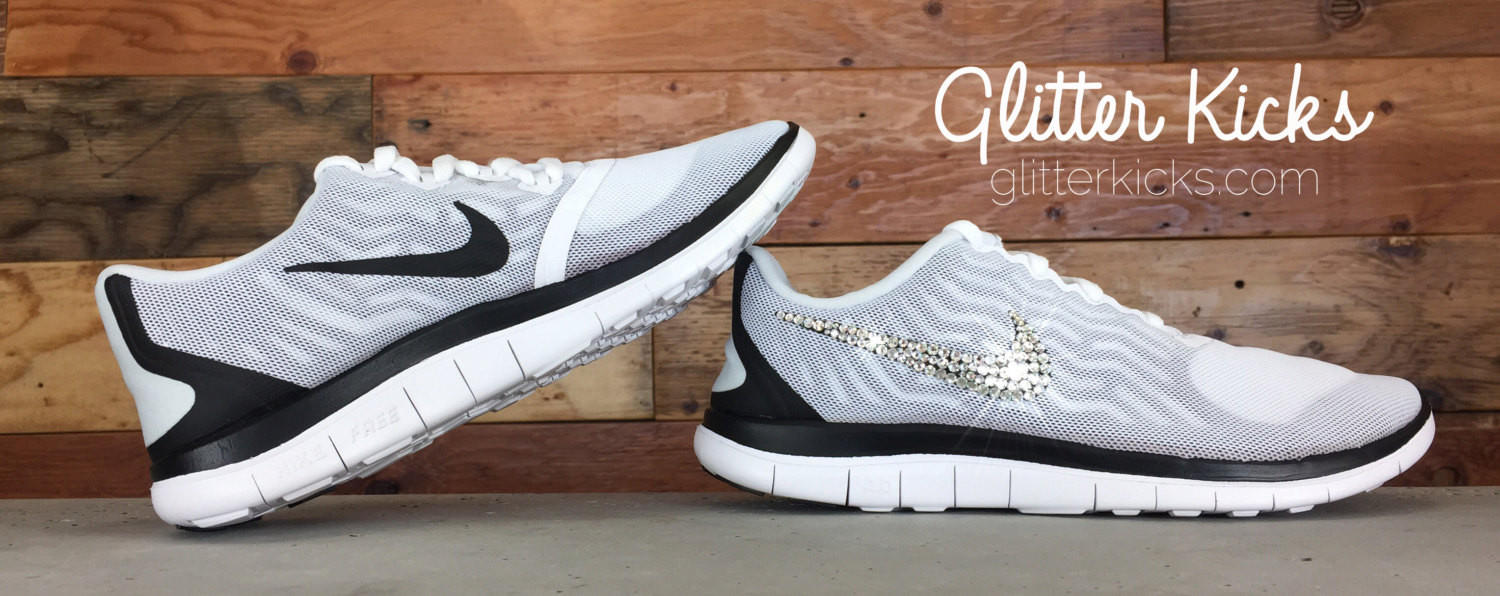 Women s Nike Free 4.0 V5 By Glitter Kicks - Hand Customized With Swarovski  Crystal Rhi 795cf93900