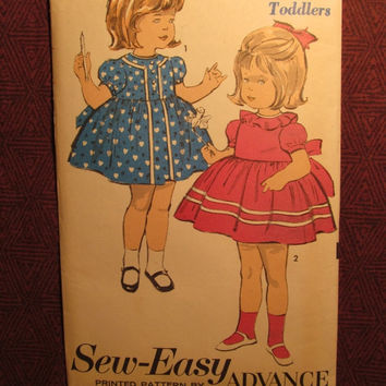 SALE Uncut 1950's Advance Sewing Pattern, 2985! Size 1/2 Infant/Toddler/Girls/Sew-Easy/Ruffle Collared Dress/Flared Dress/Short Puffy Sleeve