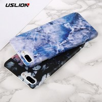 USLION Fashion Marble Stone Pattern Phone Case For iPhone 8 Plus Slim Hard Plastic PC Back Cover Cases For iPhone8 Plus
