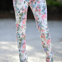 Pastel Floral Pants: Off White/Multi | Hope's
