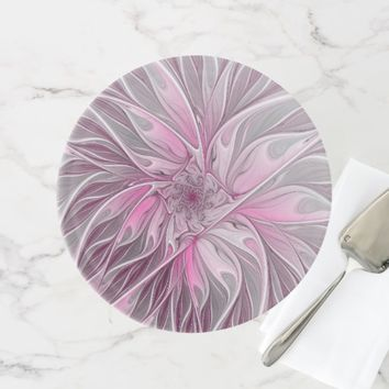 Fractal Pink Flower Dream, Floral Fantasy Pattern Cake Stand