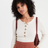AE Fitted Ribbed Henley Sweater, Oatmeal