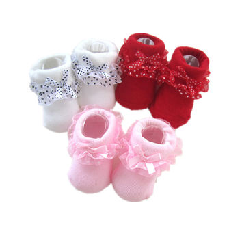 4 M-10Month Toddlers Infants Cotton Ankle Socks Baby Girls Princess Bowknots Socks