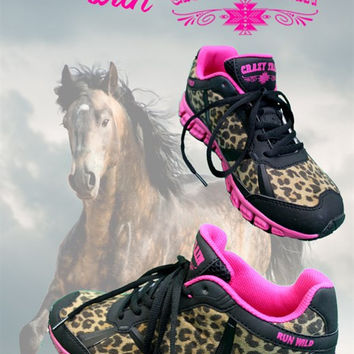 Crazy Train Pink & Leopard Tennis Shoes