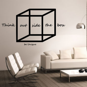 Think outside the box Wall Decal WITH QUOTE design Mural interior design Science Education Art educational vinyl  education school nerd geek