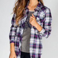 Full Tilt School Girls Womens Flannel Shirt Blue Combo  In Sizes