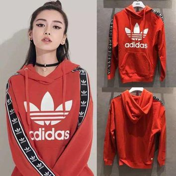 Adidas Women Man Fashion Print Hooded Sweater