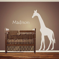Personalized Custom Giraffe Animal Nursery Wall Decal Crib Name Baby Shower gift Idea Present  African Safari Nursery Theme Looking crib