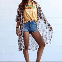 Stacey Floral Bell Sleeve Kimono - Navy Paisley