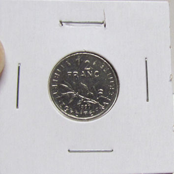 Vintage Coin, France, 1/2 Franc, 1977 (You Grade) ( In 2X2 Holder)